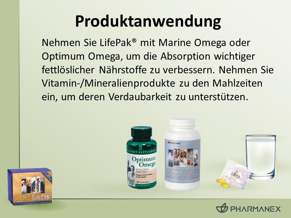 Produktanwendung Nehmen Sie LifePak® mit Marine Omega oder Optimum Omega, um die Absorption wichtiger fettlöslicher Nährstoffe zu verbessern. Nehmen S