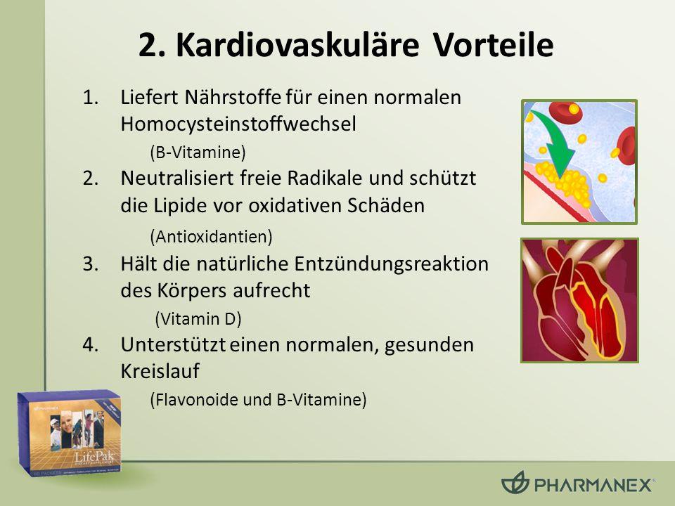 2. Kardiovaskuläre Vorteile 1.Liefert Nährstoffe für einen normalen Homocysteinstoffwechsel (B-Vitamine) 2.Neutralisiert freie Radikale und schützt di