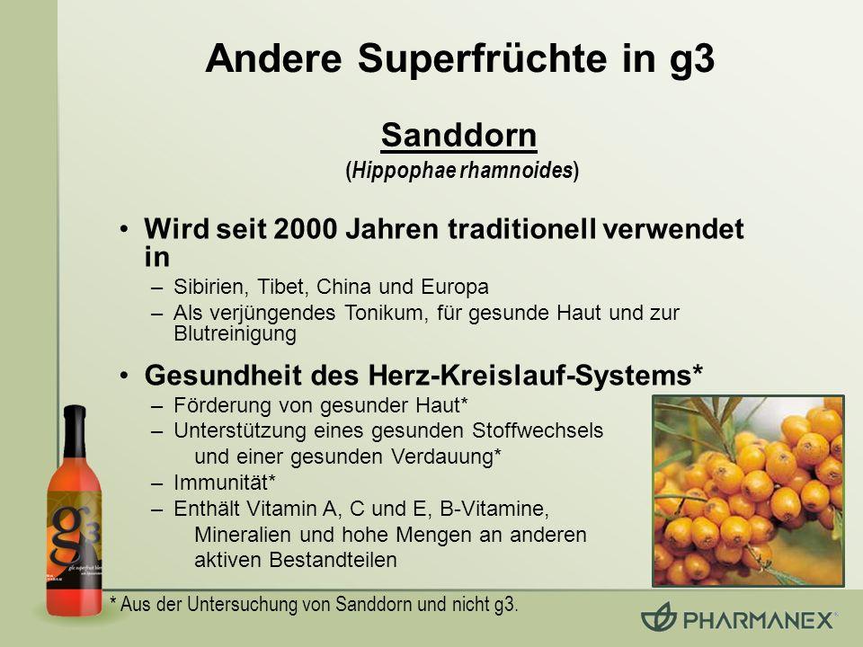 Andere Superfrüchte in g3 Wird seit 2000 Jahren traditionell verwendet in –Sibirien, Tibet, China und Europa –Als verjüngendes Tonikum, für gesunde Ha
