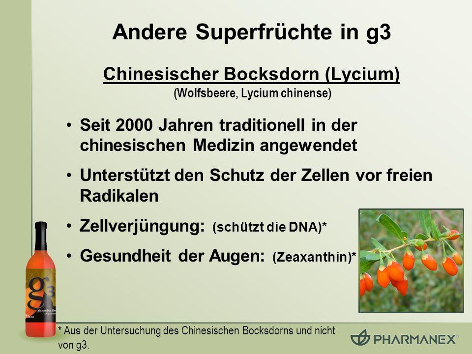 * Aus der Untersuchung des Chinesischen Bocksdorns und nicht von g3. Seit 2000 Jahren traditionell in der chinesischen Medizin angewendet Unterstützt