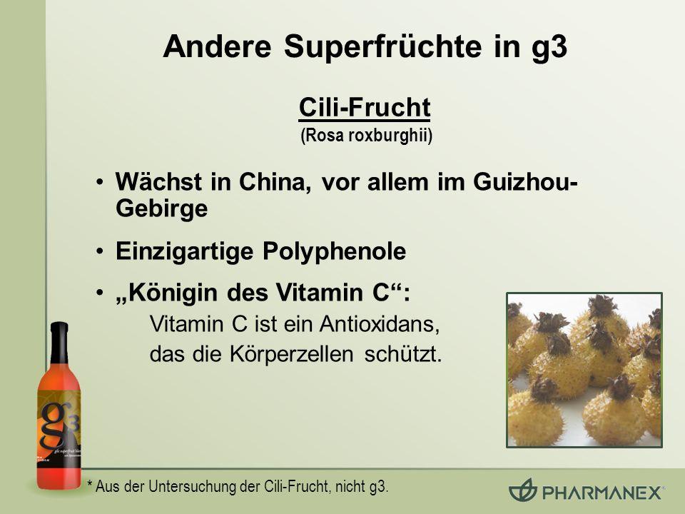 Andere Superfrüchte in g3 * Aus der Untersuchung der Cili-Frucht, nicht g3. Cili-Frucht (Rosa roxburghii) Wächst in China, vor allem im Guizhou- Gebir