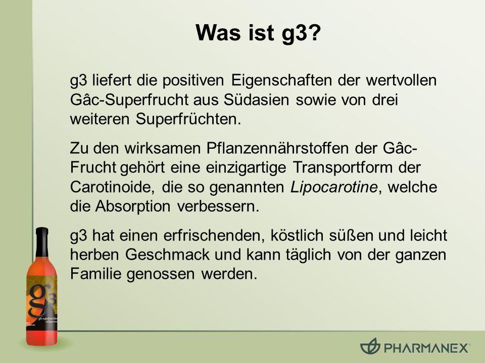 Was ist g3? g3 liefert die positiven Eigenschaften der wertvollen Gâc-Superfrucht aus Südasien sowie von drei weiteren Superfrüchten. Zu den wirksamen