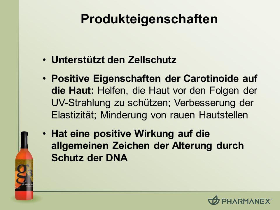 Produkteigenschaften Unterstützt den Zellschutz Positive Eigenschaften der Carotinoide auf die Haut: Helfen, die Haut vor den Folgen der UV-Strahlung