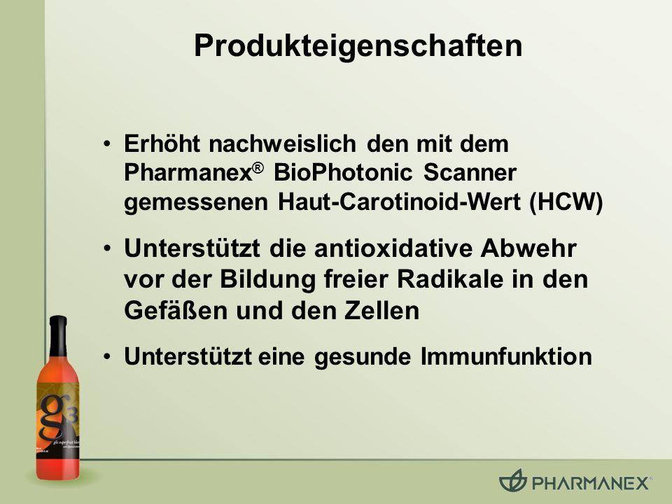 Erhöht nachweislich den mit dem Pharmanex ® BioPhotonic Scanner gemessenen Haut-Carotinoid-Wert (HCW) Unterstützt die antioxidative Abwehr vor der Bil