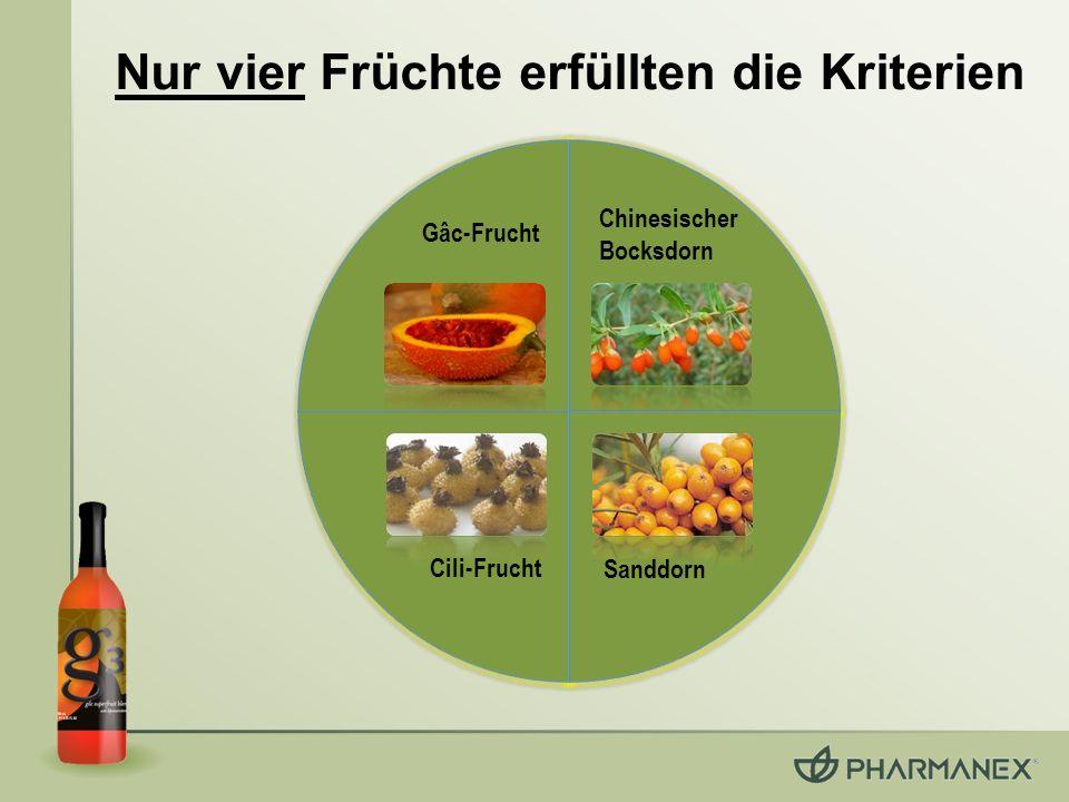 Nur vier Früchte erfüllten die Kriterien Gâc-Frucht Chinesischer Bocksdorn Cili-Frucht Sanddorn