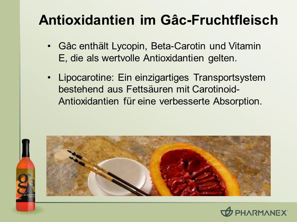 Lipocarotine: Ein einzigartiges Transportsystem Gâc-Frucht & Sanddorn: –enthalten Fettsäuren (kommt nur selten in Früchten vor) –Carotinoide und Vitamin E befinden sich in vorgelöster Form in den Fettsäuren Lipocarotine: eine Matrix aus Fettsäuren mit Carotinoiden –um 40% erhöhte Absorption im Plasma* –Erhöhung des Haut-Carotinoid-Werts um 55%* * Im Vergleich zu normalen Carotinoiden