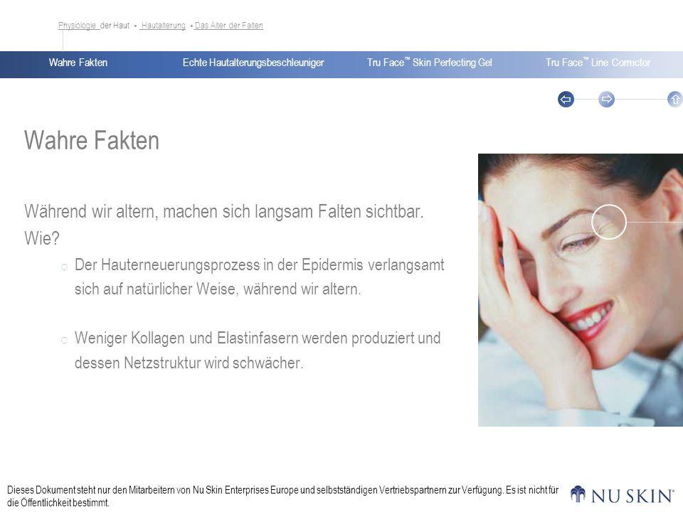 Echte HautalterungsbeschleunigerWahre FaktenTru Face Skin Perfecting GelTru Face Line Corrector Dieses Dokument steht nur den Mitarbeitern von Nu Skin Enterprises Europe und selbstständigen Vertriebspartnern zur Verfügung.