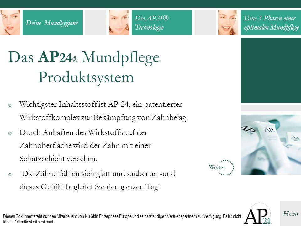 Deine Mundhygiene Die AP24® Technologie Eine 3 Phasen einer optimalen Mundpflege Home Dieses Dokument steht nur den Mitarbeitern von Nu Skin Enterpris