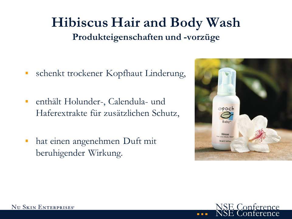 NSE Conference Hibiscus Hair and Body Wash Produkteigenschaften und -vorzüge schenkt trockener Kopfhaut Linderung, enthält Holunder-, Calendula- und H
