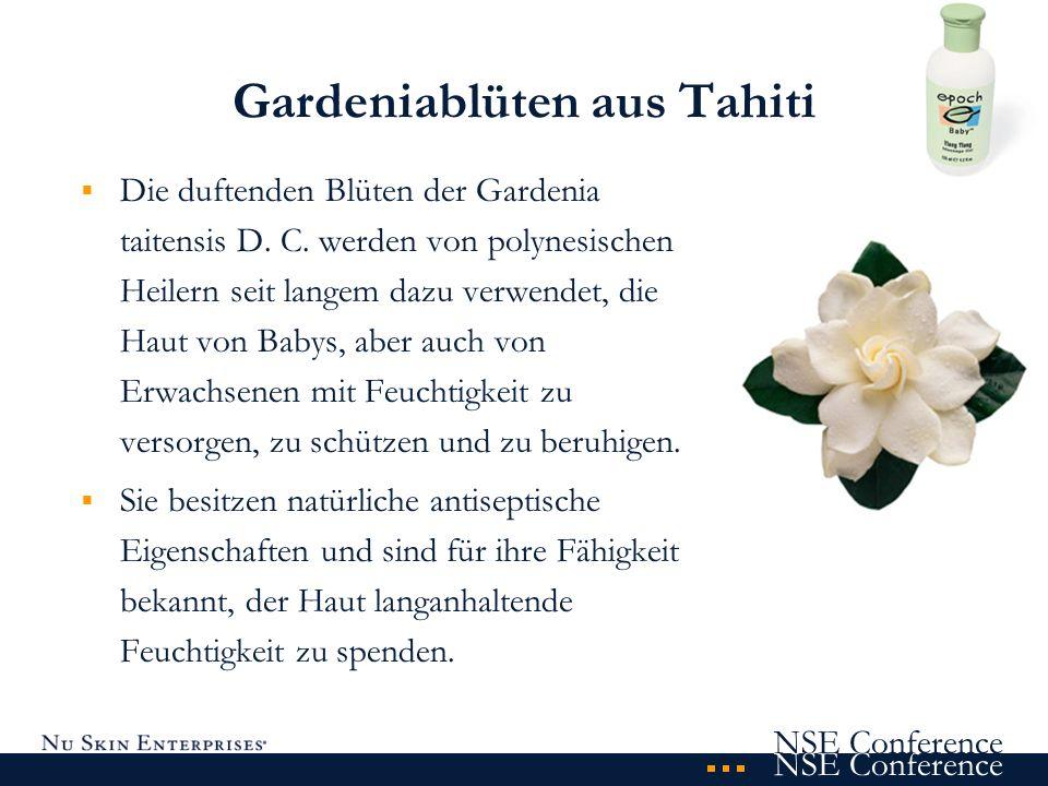 NSE Conference Gardeniablüten aus Tahiti Die duftenden Blüten der Gardenia taitensis D. C. werden von polynesischen Heilern seit langem dazu verwendet