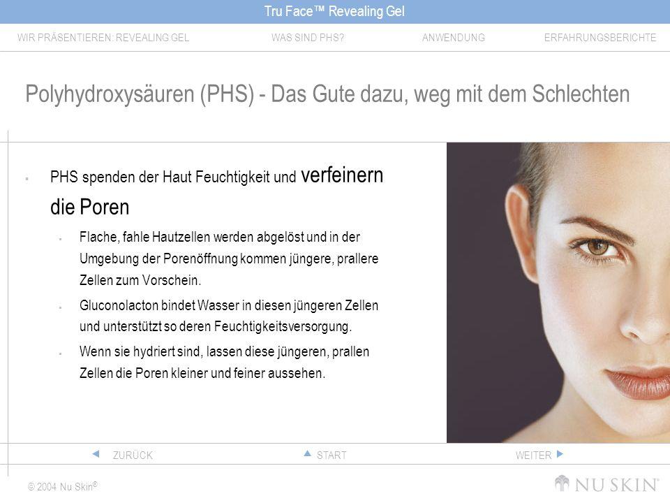 Tru Face Revealing Gel WIR PRÄSENTIEREN: REVEALING GELWAS SIND PHS?ANWENDUNGERFAHRUNGSBERICHTE © 2004 Nu Skin ® STARTZURÜCKWEITER Polyhydroxysäuren (P