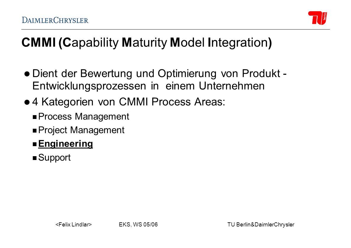 EKS, WS 05/06 TU Berlin&DaimlerChrysler CMMI (Capability Maturity Model Integration) Dient der Bewertung und Optimierung von Produkt - Entwicklungsprozessen in einem Unternehmen 4 Kategorien von CMMI Process Areas: Process Management Project Management Engineering Support