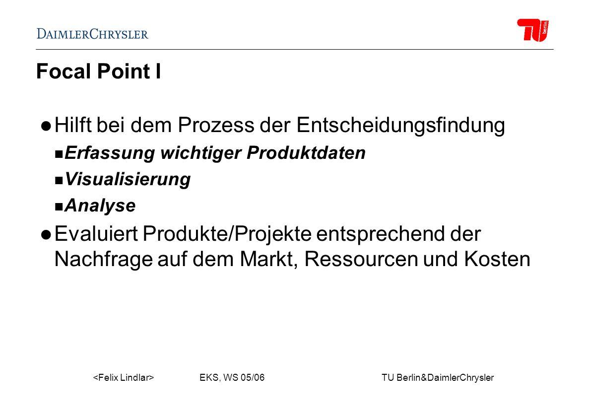 EKS, WS 05/06 TU Berlin&DaimlerChrysler Focal Point I Hilft bei dem Prozess der Entscheidungsfindung Erfassung wichtiger Produktdaten Visualisierung Analyse Evaluiert Produkte/Projekte entsprechend der Nachfrage auf dem Markt, Ressourcen und Kosten