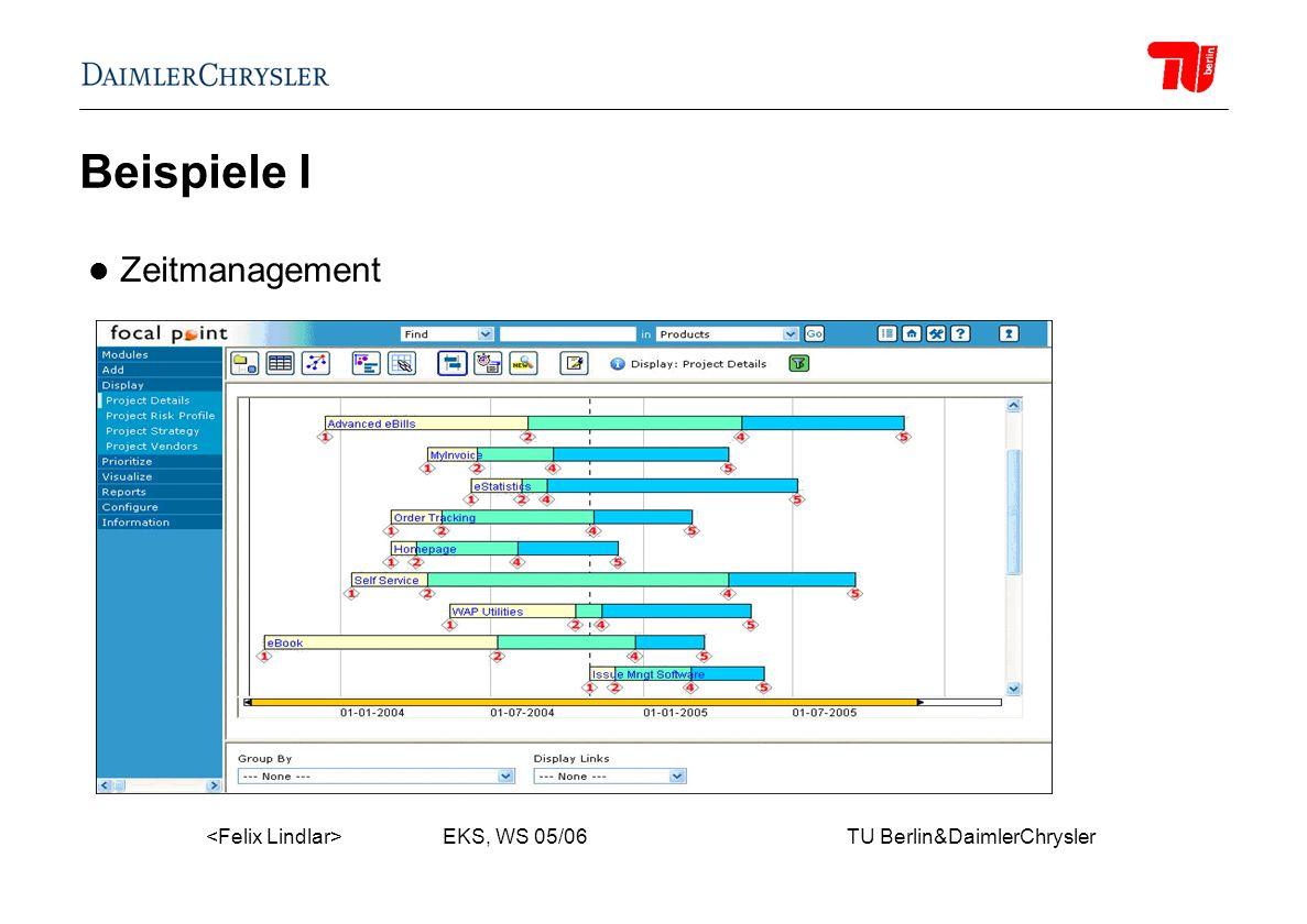 EKS, WS 05/06 TU Berlin&DaimlerChrysler Beispiele I Zeitmanagement