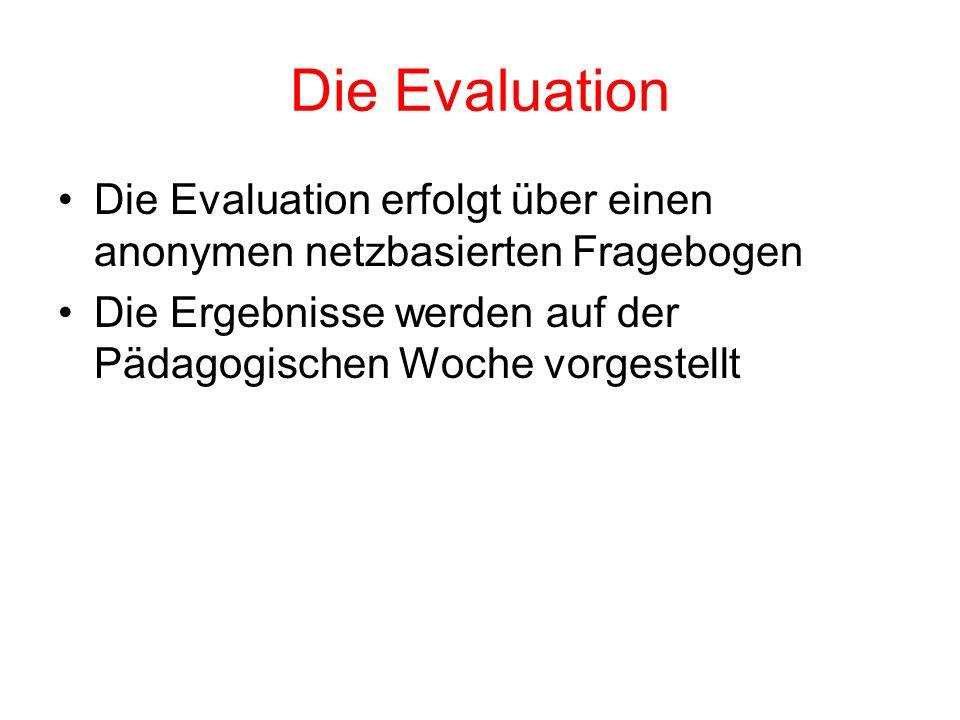 Die Evaluation Die Evaluation erfolgt über einen anonymen netzbasierten Fragebogen Die Ergebnisse werden auf der Pädagogischen Woche vorgestellt