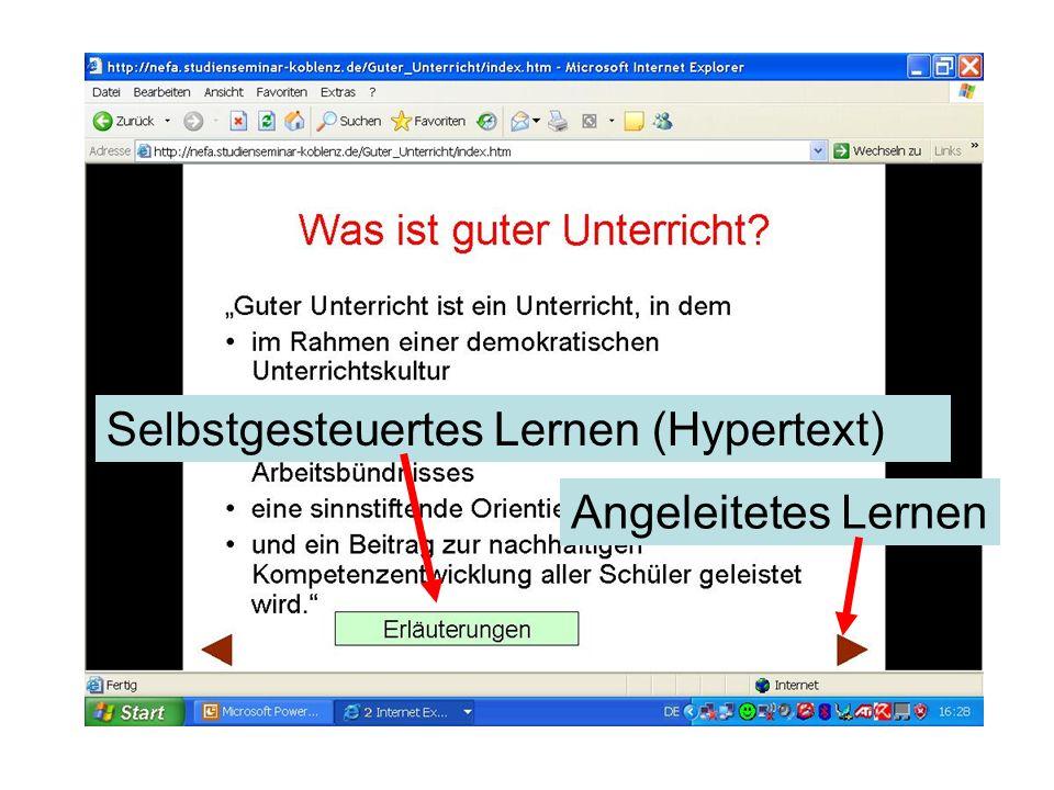 Selbstgesteuertes Lernen (Hypertext) Angeleitetes Lernen