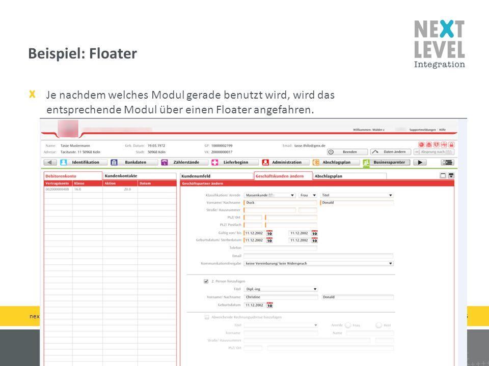 15 Je nachdem welches Modul gerade benutzt wird, wird das entsprechende Modul über einen Floater angefahren. Beispiel: Floater next-level-integration.