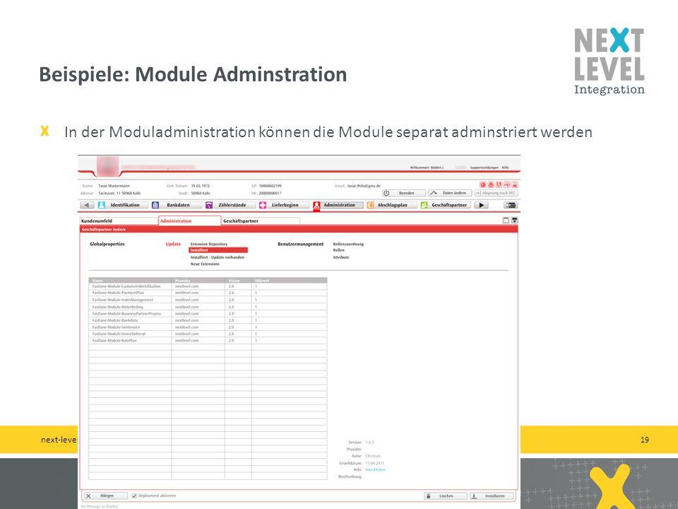 19 In der Moduladministration können die Module separat adminstriert werden Beispiele: Module Adminstration next-level-integration.com   b2b by practi