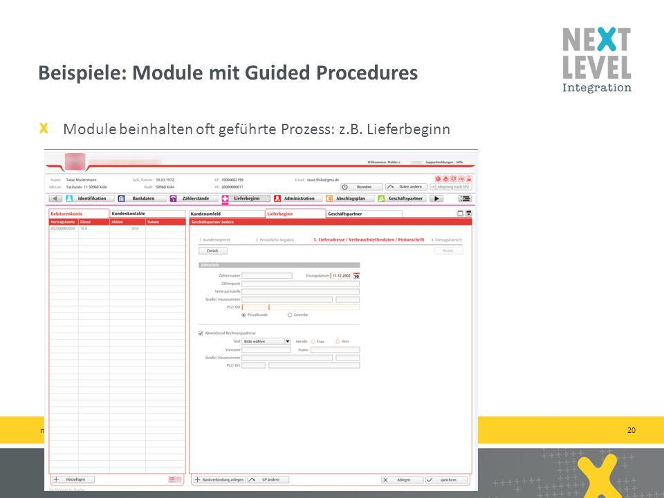 20 Module beinhalten oft geführte Prozess: z.B.