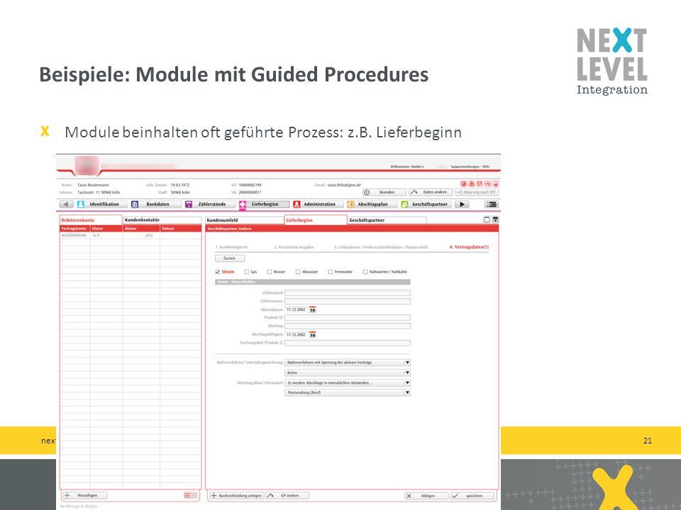 21 Module beinhalten oft geführte Prozess: z.B.