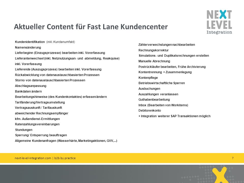 28 Fastlane Modellierungsansatz next-level-integration.com | next level portals – next level search – next level ccm – b2b by practice Partner -BP (Geschäftspartner) -Name (Name) -Firstname (Vorname) -Street (Straße) -….