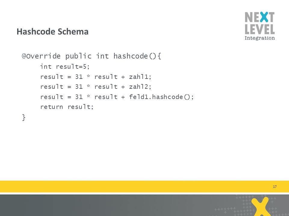17 @Override public int hashcode(){ int result=5; result = 31 * result + zahl1; result = 31 * result + zahl2; result = 31 * result + feld1.hashcode(); return result; } Hashcode Schema