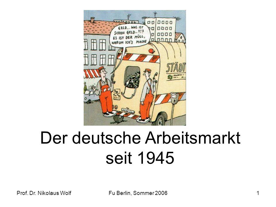 Prof. Dr. Nikolaus WolfFu Berlin, Sommer 20061 Der deutsche Arbeitsmarkt seit 1945