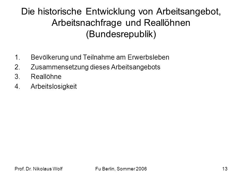 Prof. Dr. Nikolaus WolfFu Berlin, Sommer 200613 Die historische Entwicklung von Arbeitsangebot, Arbeitsnachfrage und Reallöhnen (Bundesrepublik) 1.Bev