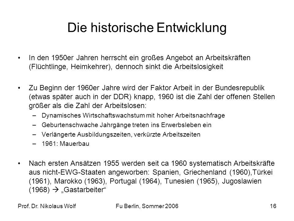 Prof. Dr. Nikolaus WolfFu Berlin, Sommer 200616 Die historische Entwicklung In den 1950er Jahren herrscht ein großes Angebot an Arbeitskräften (Flücht