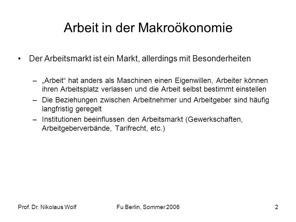 Prof. Dr. Nikolaus WolfFu Berlin, Sommer 20062 Arbeit in der Makroökonomie Der Arbeitsmarkt ist ein Markt, allerdings mit Besonderheiten –Arbeit hat a