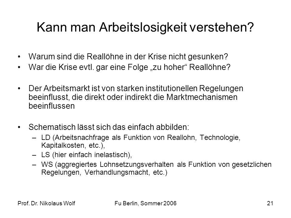 Prof. Dr. Nikolaus WolfFu Berlin, Sommer 200621 Kann man Arbeitslosigkeit verstehen? Warum sind die Reallöhne in der Krise nicht gesunken? War die Kri