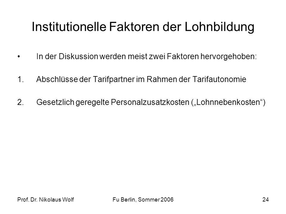 Prof. Dr. Nikolaus WolfFu Berlin, Sommer 200624 Institutionelle Faktoren der Lohnbildung In der Diskussion werden meist zwei Faktoren hervorgehoben: 1
