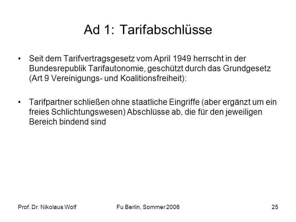 Prof. Dr. Nikolaus WolfFu Berlin, Sommer 200625 Ad 1: Tarifabschlüsse Seit dem Tarifvertragsgesetz vom April 1949 herrscht in der Bundesrepublik Tarif