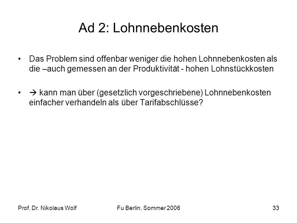 Prof. Dr. Nikolaus WolfFu Berlin, Sommer 200633 Ad 2: Lohnnebenkosten Das Problem sind offenbar weniger die hohen Lohnnebenkosten als die –auch gemess