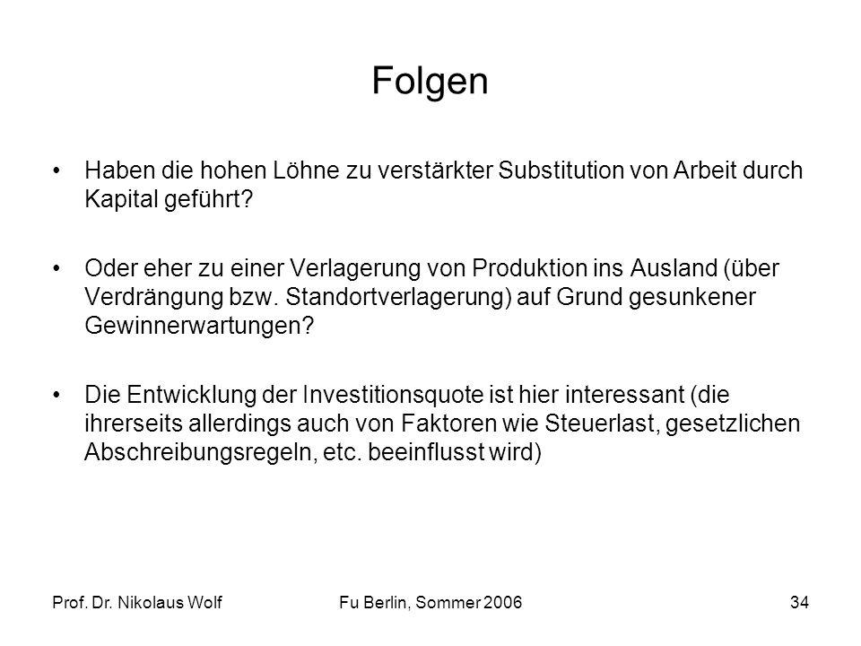Prof. Dr. Nikolaus WolfFu Berlin, Sommer 200634 Folgen Haben die hohen Löhne zu verstärkter Substitution von Arbeit durch Kapital geführt? Oder eher z