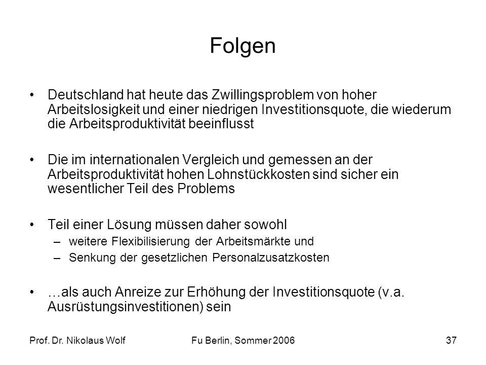 Prof. Dr. Nikolaus WolfFu Berlin, Sommer 200637 Folgen Deutschland hat heute das Zwillingsproblem von hoher Arbeitslosigkeit und einer niedrigen Inves