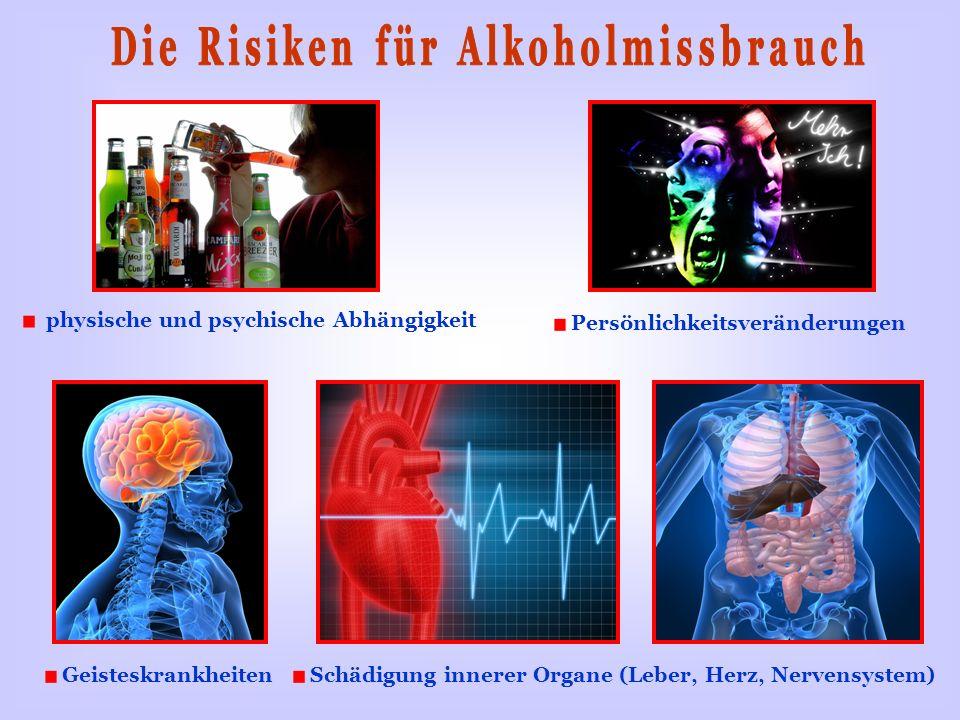 physische und psychische Abhängigkeit Schädigung innerer Organe (Leber, Herz, Nervensystem) Geisteskrankheiten Persönlichkeitsveränderungen
