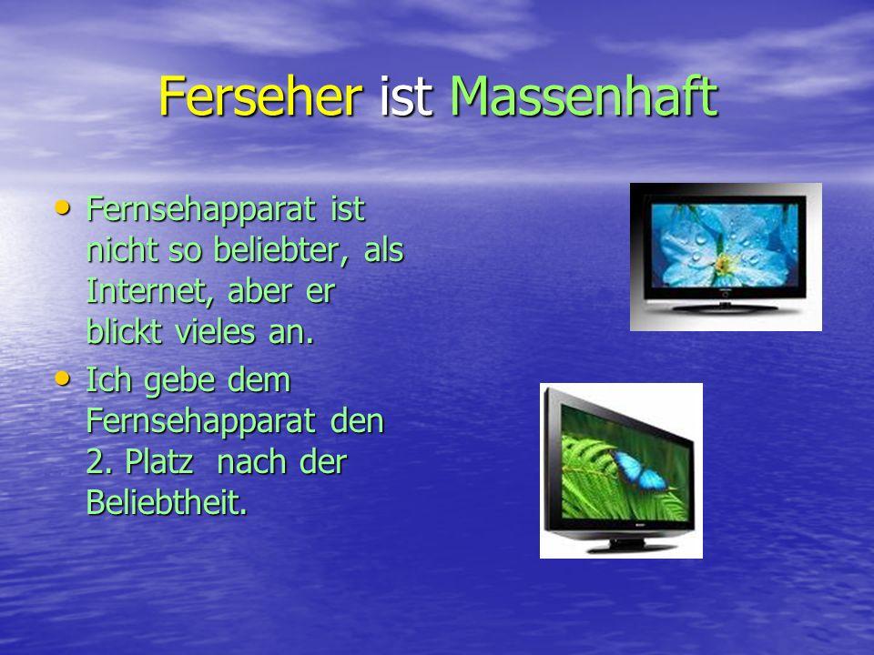 Ferseher ist Massenhaft Fernsehapparat ist nicht so beliebter, als Internet, aber er blickt vieles an.
