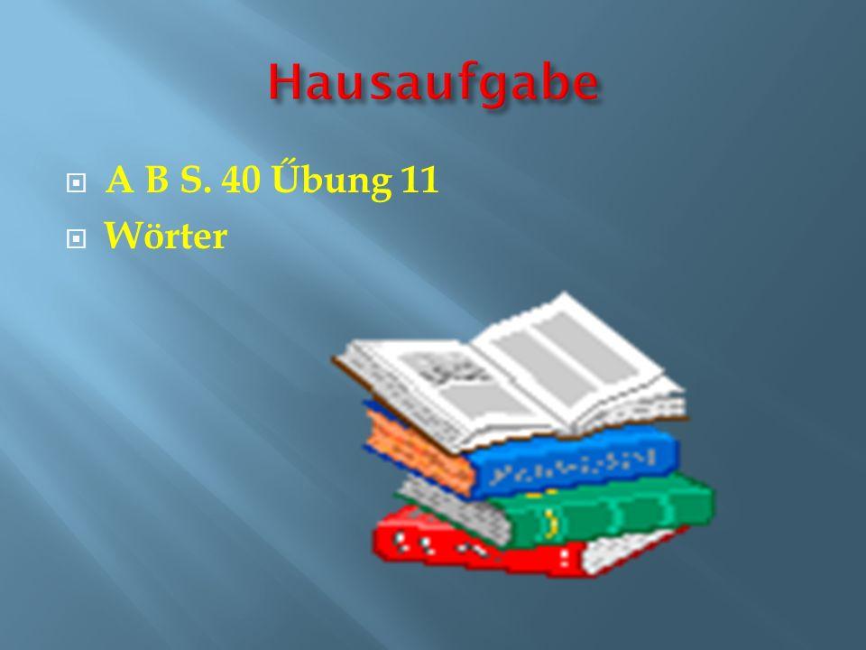 A B S. 40 Űbung 11 Wörter