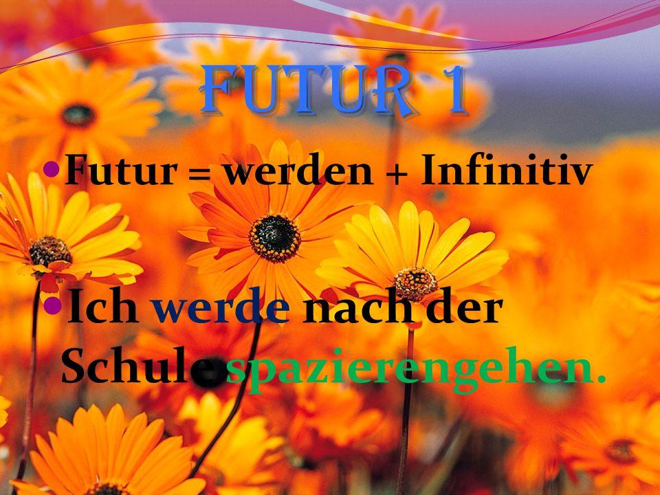 Futur 1 Futur 1 Futur = werden + Infinitiv Ich werde nach der Schule spazierengehen.