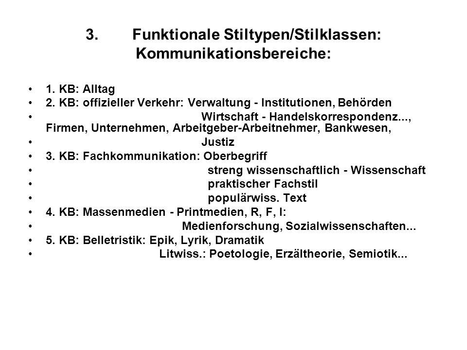 3.Funktionale Stiltypen/Stilklassen: Kommunikationsbereiche: 1. KB: Alltag 2. KB: offizieller Verkehr: Verwaltung - Institutionen, Behörden Wirtschaft