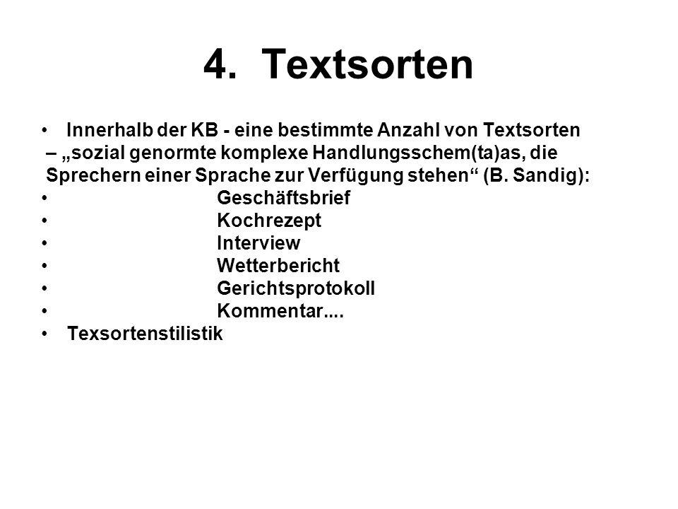 4. Textsorten Innerhalb der KB - eine bestimmte Anzahl von Textsorten – sozial genormte komplexe Handlungsschem(ta)as, die Sprechern einer Sprache zur
