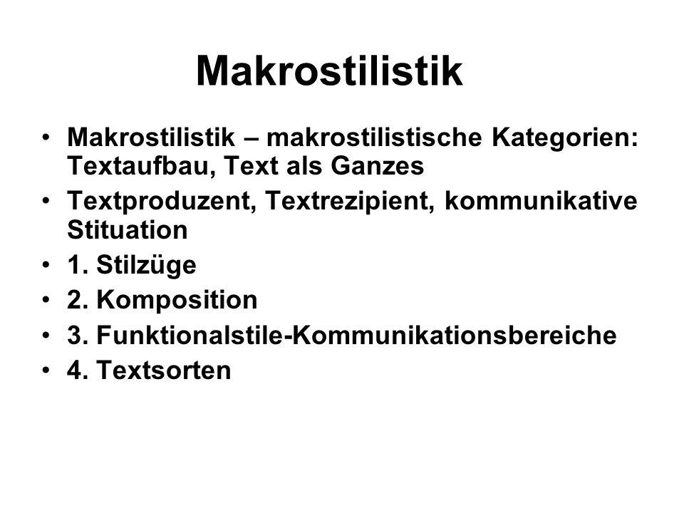 Makrostilistik Makrostilistik – makrostilistische Kategorien: Textaufbau, Text als Ganzes Textproduzent, Textrezipient, kommunikative Stituation 1. St