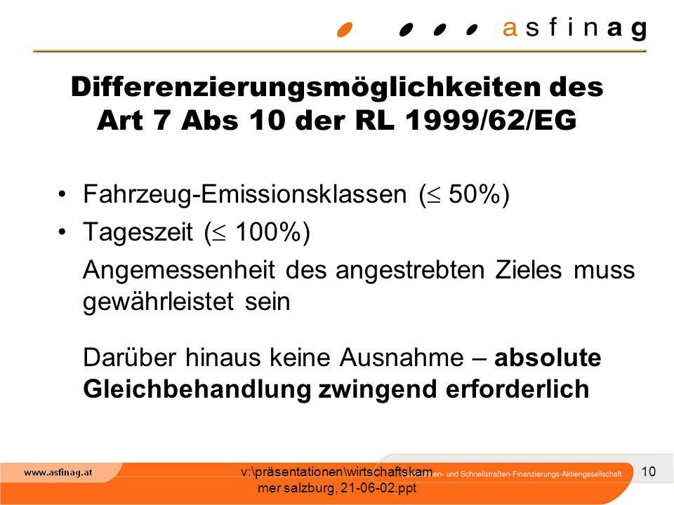 v:\präsentationen\wirtschaftskam mer salzburg, 21-06-02.ppt 10 Differenzierungsmöglichkeiten des Art 7 Abs 10 der RL 1999/62/EG Fahrzeug-Emissionsklas