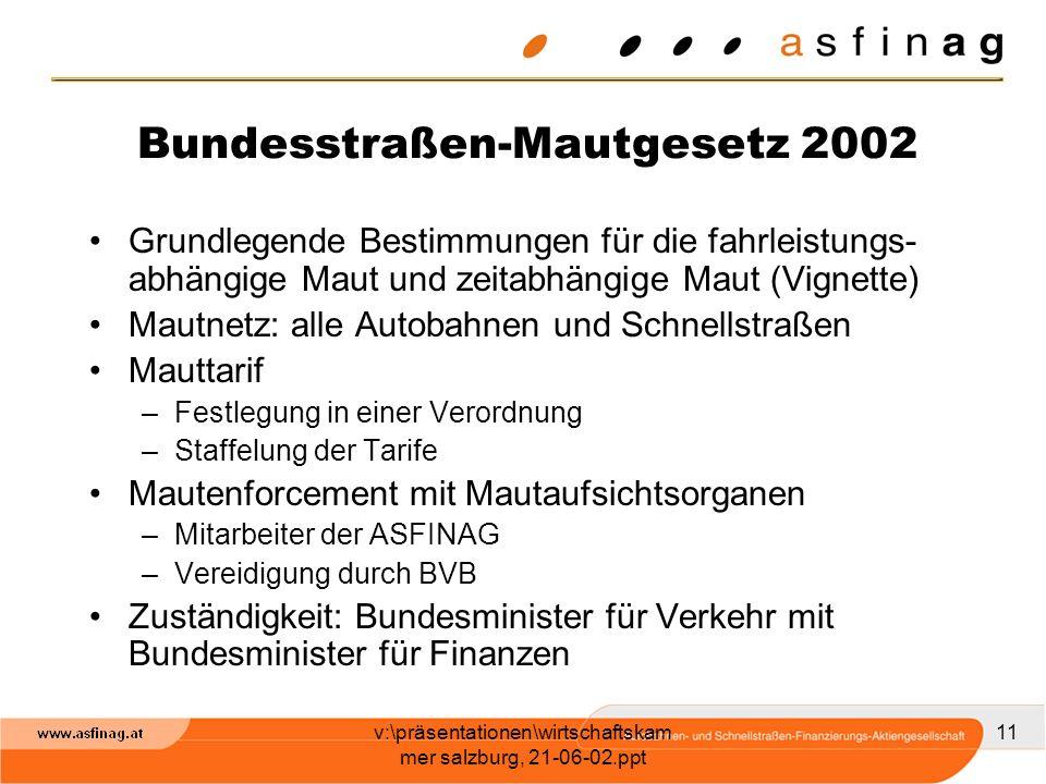 v:\präsentationen\wirtschaftskam mer salzburg, 21-06-02.ppt 11 Bundesstraßen-Mautgesetz 2002 Grundlegende Bestimmungen für die fahrleistungs- abhängig