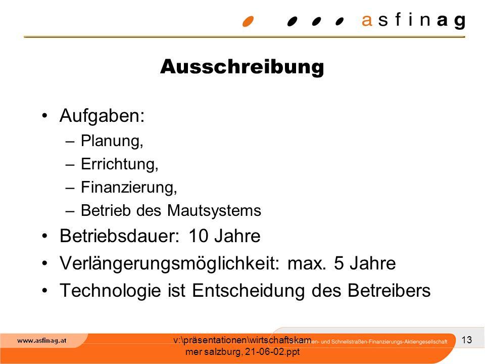 v:\präsentationen\wirtschaftskam mer salzburg, 21-06-02.ppt 13 Ausschreibung Aufgaben: –Planung, –Errichtung, –Finanzierung, –Betrieb des Mautsystems