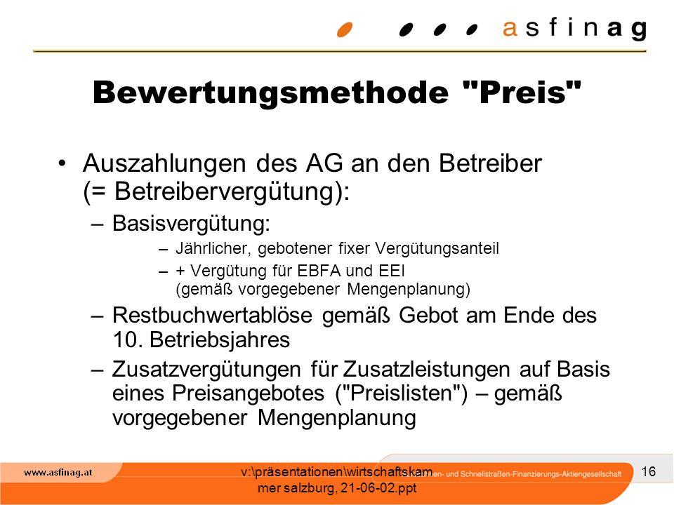 v:\präsentationen\wirtschaftskam mer salzburg, 21-06-02.ppt 16 Bewertungsmethode