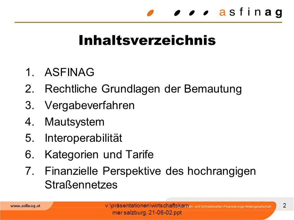 v:\präsentationen\wirtschaftskam mer salzburg, 21-06-02.ppt 2 Inhaltsverzeichnis 1.ASFINAG 2.Rechtliche Grundlagen der Bemautung 3.Vergabeverfahren 4.