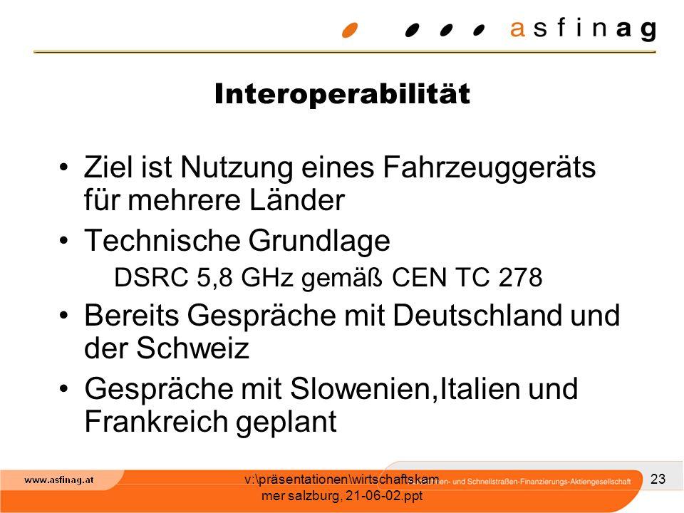v:\präsentationen\wirtschaftskam mer salzburg, 21-06-02.ppt 23 Interoperabilität Ziel ist Nutzung eines Fahrzeuggeräts für mehrere Länder Technische G