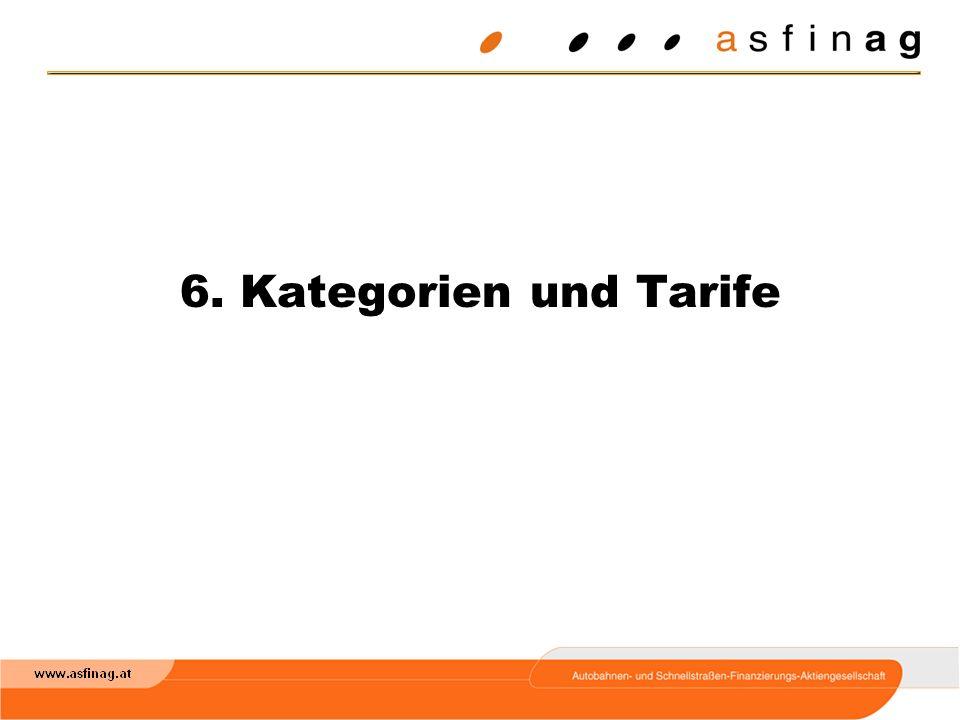 6. Kategorien und Tarife